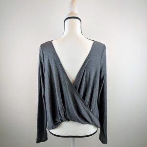 Old Navy Twist Back Tissue Weight Top Gray